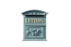 Mailbox isolated. Vintage mailbox for letters with the inscription
