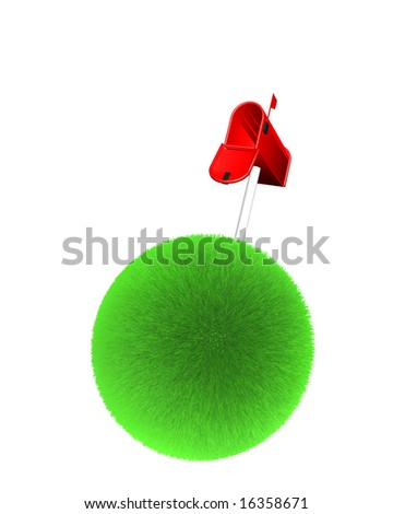 mailbox on sphere of grass on white background