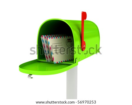 Mailbox over white background. 3d rendered image