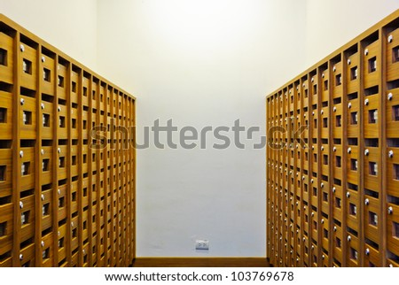 Mailbox room inside apartment - stock photo