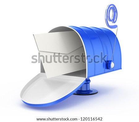mailbox with email symbol and envelope isolated on white background. 3d rendered image