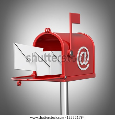 Mailbox with flying leters. High resolution 3d render