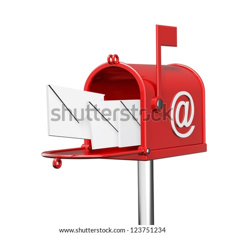 Mailbox with flying letters isolated on white background High resolution 3d render