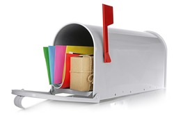 Mailbox with gift box and correspondence isolated on white