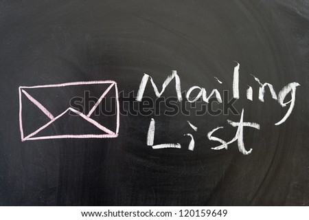 Mailing list words and symbol on the blackboard