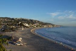 Main Beach and lifeguard tower in Laguna Beach, Southern California