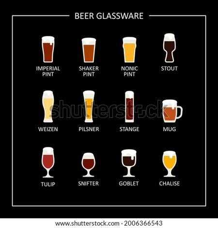Main beer glasses, flat icon on black chalkboard. Raster Stock photo ©