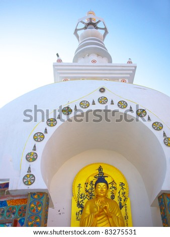 Main Buddha Image and Shanti Stupa over the sky, Leh, Ladakh, Jammu and Kashmir, India