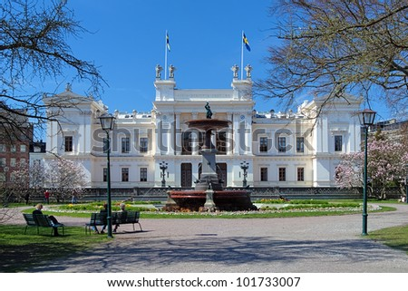 Main building of the Lund University in sunny spring day, Sweden