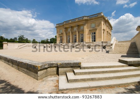 Main building of the Petit Trianon in Versailles Palace, Paris France. The Petit Trianon is a small chateau, it's builted by Gabriel for Louis XV.
