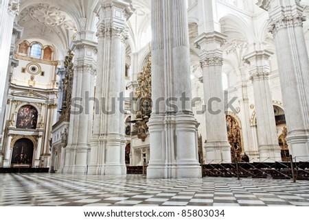 Main cathedral interior in Granada , Spain - stock photo