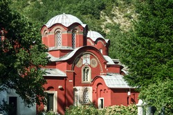 Main church and chapel of the manastir pecka patrijarsija monastery in Decan, Kosovo. It is one of the main serbian orthodox monasteries and patriarchate in Kosovo and a major dispute between serbs