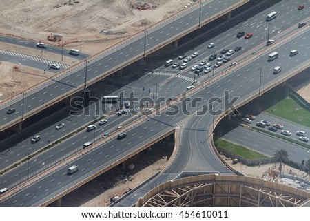Main City Road with Cars in Dubai. Viewed from Burj Khalifa #454610011