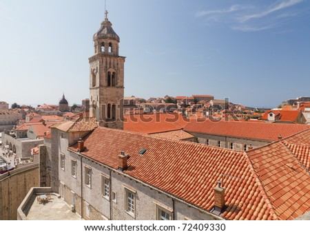 main court of old town Dubrovnik with many old red roofed windows, Croatia