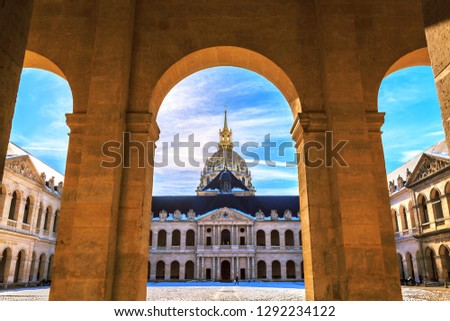 Main courtyard of Les Invalides (National Residence of Invalids) in Paris. French baroque architecture. Museums and monuments, military history of France. Napoleon I Bonaparte tomb in this building.
