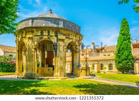 Main courtyard with a pavilion in the old carthusian monastery Chartreuse de Villeneuve lez Avignon, France Stock fotó ©