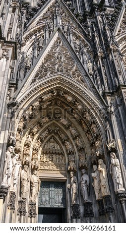 Main Enter in Cologne Cathedral (Kolner Dom, Hohe Domkirche St. Petrus and Maria) on square in Cologne, Germany #340266161