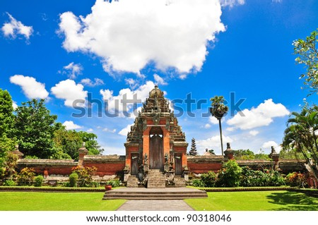 Main entrance a Temple in Bali, Indonesia on a beautiful sunny day