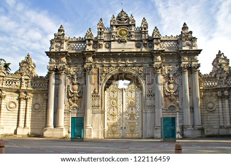Main entrance door of dolmabahce palace in Istanbul Turkey