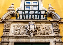 Main entrance of the Palace Alvor-Pombal, today the National Museum of Ancient Art, in Lisbon, Portugal