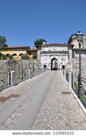 Main entrance to the Castle of Brescia, medieval architecture attraction