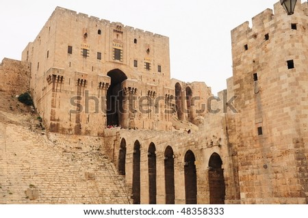Main entrance to the citadel of Aleppo in Syria