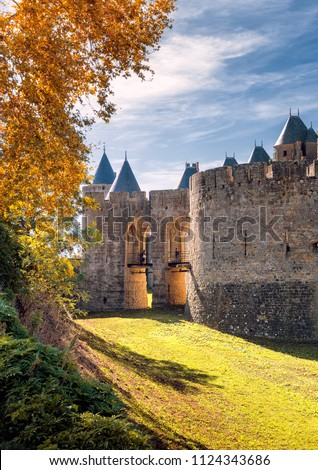 Main entrance to the city of Carcassonne, Occitanie, France
