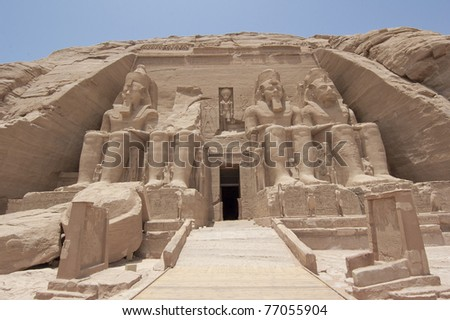 Main entrance to the Temple of Ramses II at Abu Simbel - stock photo