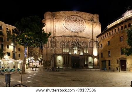 Main facade of Santa Maria del Pi at night -- is a 14th century Gothic church in Barcelona, Catalonia, Spain - stock photo