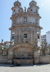 Main facade of the church of the Pilgrim Virgin in Pontevedra, located at the foot of the Camino de Santiago Portuguese of neoclassical baroque style, in the Autonomous Community of Galicia, Spain