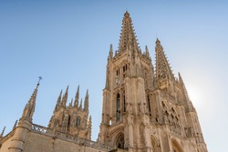 Main facade of the Gothic Cathedral of Burgos on a sunny day. Burgos, Castilla y León, Spain