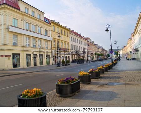 Main fashionable  street (Novy Swiat), Warsaw, Poland