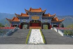 Main gate of Chongsheng temple (The Three Pagodas temple), Dali, China,