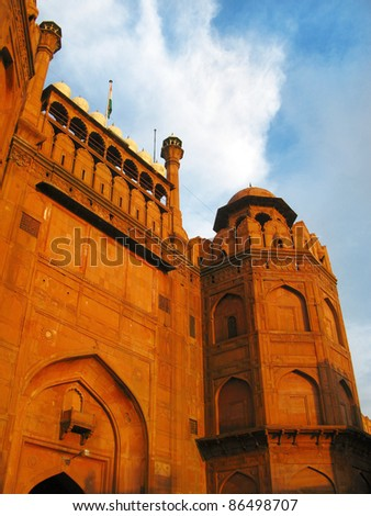 Main gate of Red Fort at sunset, in New Delhi, India