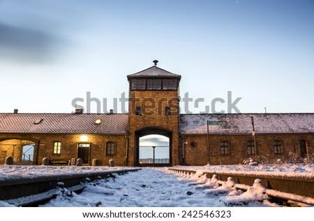 Main gate to nazi concentration camp of Auschwitz Birkenau, Poland