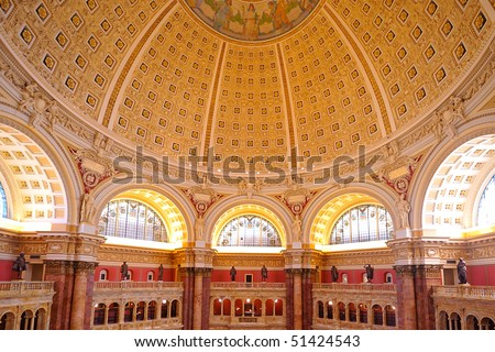 Main Hall of the Library of Congress ceiling, Washington, DC