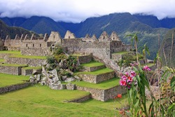 Main Plaza in the Machu Picchu Sanctuary, Peru, showing the ruins of the once great city