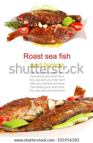 main portion of two grilled fish served on plate with tomatoes and rosemary