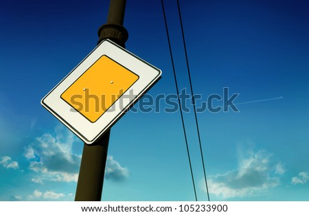 Main road sign on a background of sky