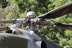 Main rotor of a military helicopter and its blades in close-up