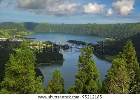 Main Sete Cidades Lagoons (Green and Blue) seen from Vista do Rei viewpoint. Azores, San Miguel, Portugal