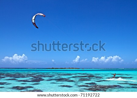 stock photo Main spot of Kitsurf on Moorea island French Polynesia