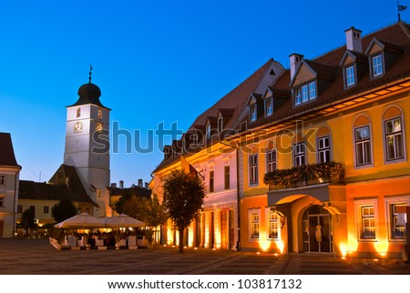 Main square and council tower in sibiu, romania at blue hour