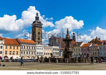 Main square in Ceske Budejovice (Budweis), Czech Republic