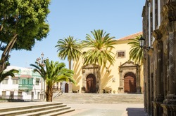 Main square in Garachico with monastery of SanFrancisco, Tenerife, Canary islands, Spain