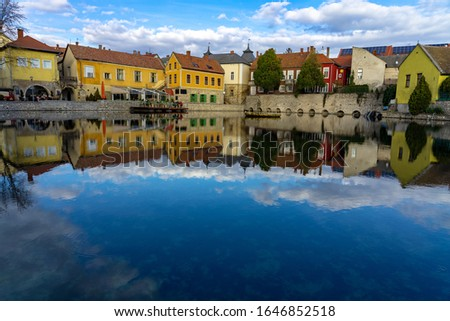 Main Square of Tapolca in Hungary part of the hungarian blue hiking trail . Stock fotó ©