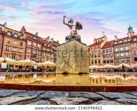 Main Square of Warsaw Old Town Market Square - Close up of statue of Saint Anne #1146998462