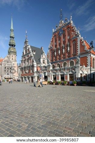 Main square with Townhall and church in Riga, in Latvia. The most famous and the most beautiful place in Riga.