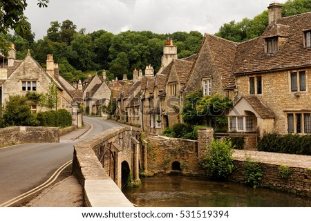main street in castle combe ...