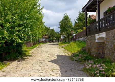 Main street of the Holloko village, Hungary. UNESCO World Heritage Site.